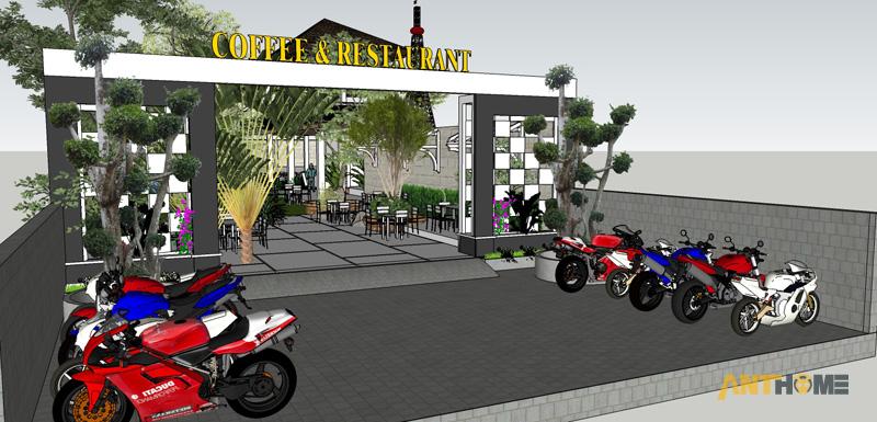 Thiết kế ngoại thất quán cafe sân vườn Đại Long độc đáo 1