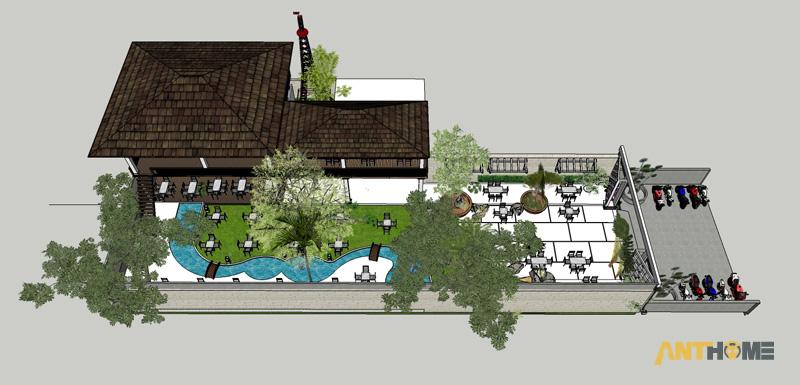 Thiết kế ngoại thất quán cafe sân vườn Đại Long độc đáo 10