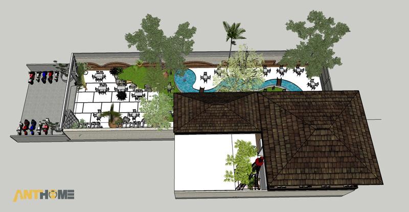 Thiết kế ngoại thất quán cafe sân vườn Đại Long độc đáo 11