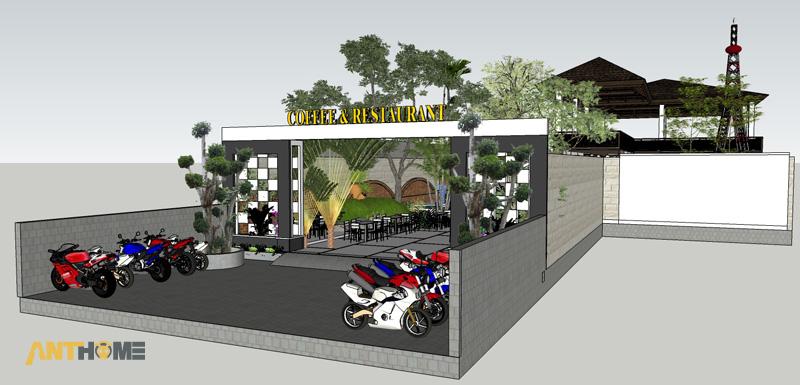 Thiết kế ngoại thất quán cafe sân vườn Đại Long độc đáo 2