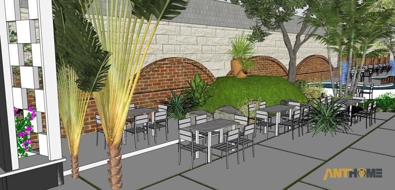 Thiết kế ngoại thất quán cafe sân vườn Đại Long độc đáo 3
