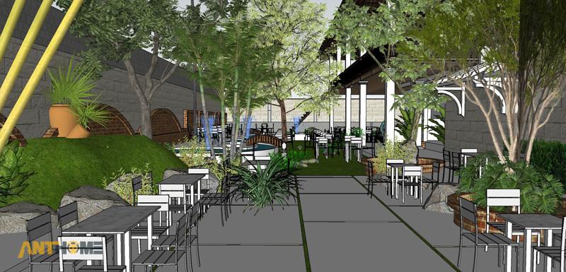 Thiết kế ngoại thất quán cafe sân vườn Đại Long độc đáo 4