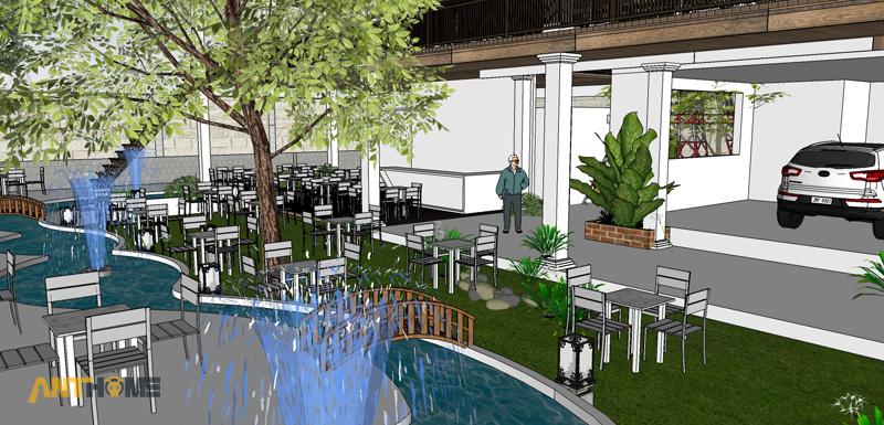 Thiết kế ngoại thất quán cafe sân vườn Đại Long độc đáo 5