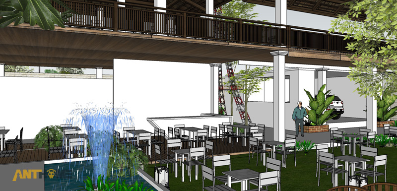 Thiết kế ngoại thất quán cafe sân vườn Đại Long độc đáo 6
