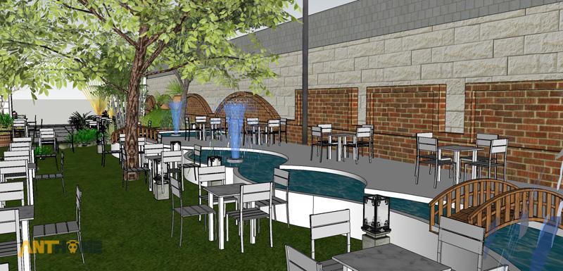 Thiết kế ngoại thất quán cafe sân vườn Đại Long độc đáo 7