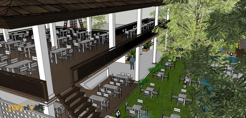 Thiết kế ngoại thất quán cafe sân vườn Đại Long độc đáo 8