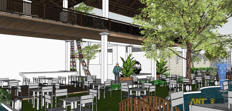 Thiết kế ngoại thất quán cafe sân vườn Đại Long độc đáo 9