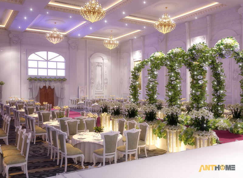Thiết kế nhà hàng tiệc cưới bán cổ điển đẹp và sang trọng 5