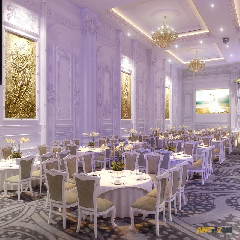 Thiết kế nhà hàng tiệc cưới bán cổ điển đẹp và sang trọng 6
