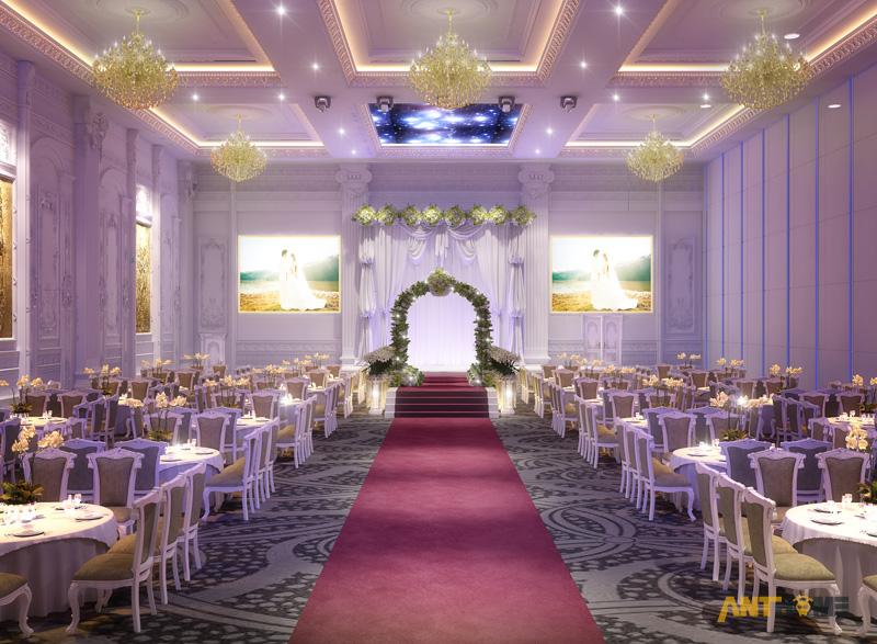 Thiết kế nhà hàng tiệc cưới bán cổ điển đẹp và sang trọng 7