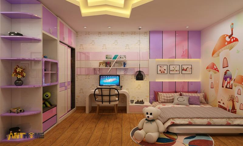 Thiết kế nội thất phòng ngủ con gái đẹp, hiện đại 1