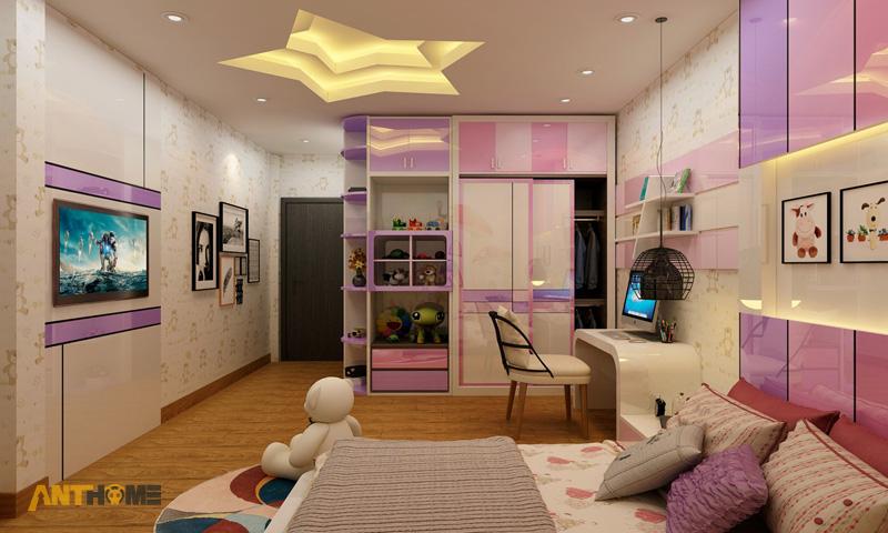 Thiết kế nội thất phòng ngủ con gái đẹp, hiện đại 3