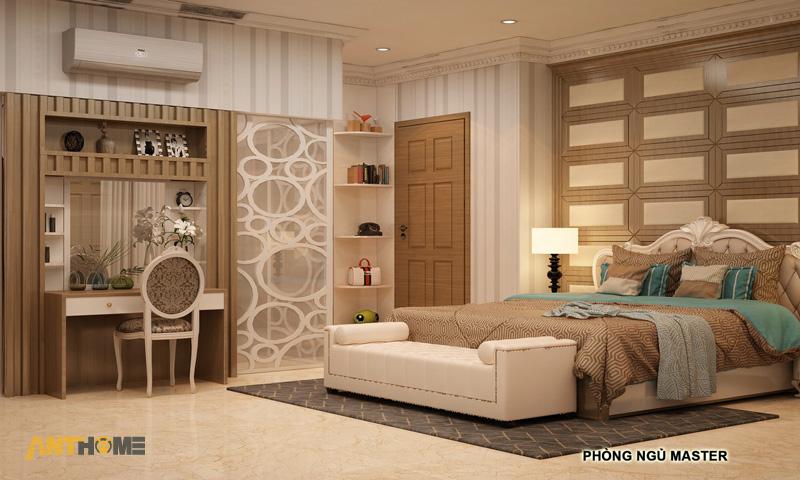 Thiết kế nội thất phòng ngủ và wc biệt thự KDC Vĩnh Lộc