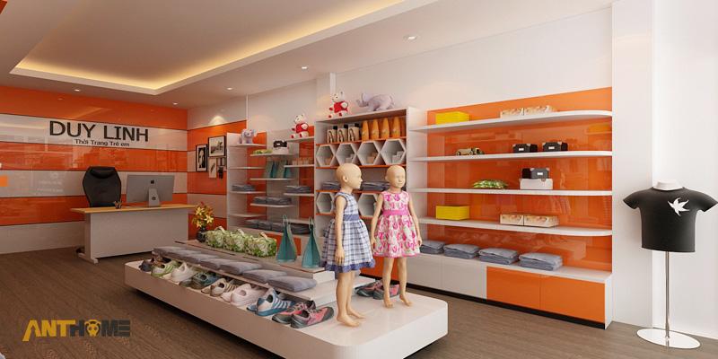 Thiết kế nội thất shop thời trang quần áo trẻ em đẹp 1