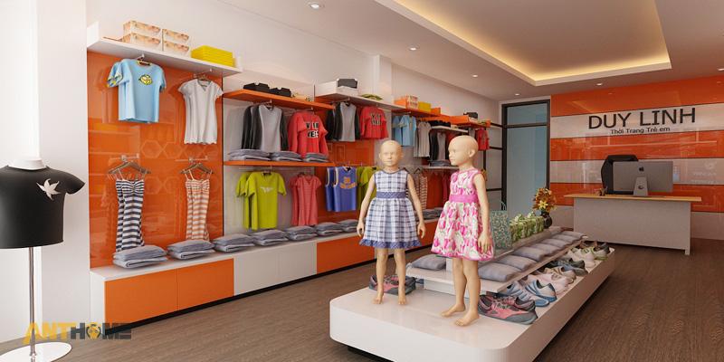 Thiết kế nội thất shop thời trang quần áo trẻ em đẹp 2