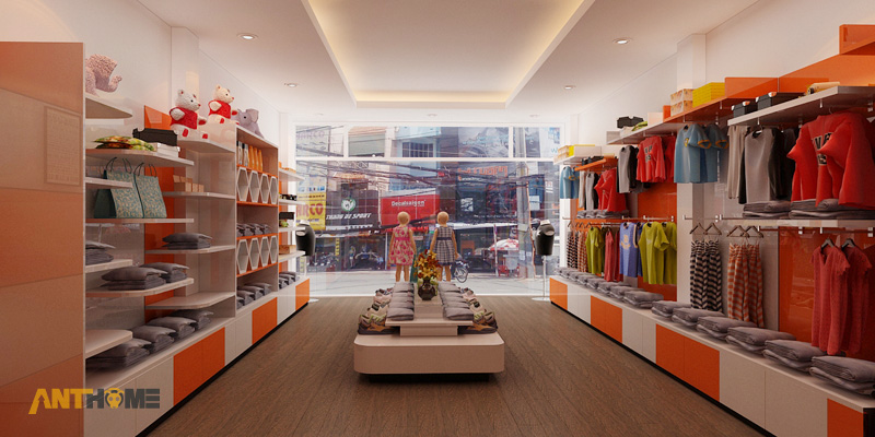 Thiết kế nội thất shop thời trang quần áo trẻ em đẹp 3